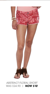 Abstract Floral Denim Short