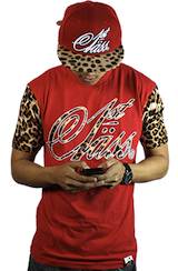 Cut & Sewn Leopard Sleeve Logo Shirt - Red