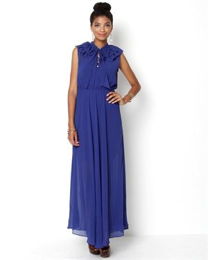 Kendall K. Ruffle Neck Maxi Dress