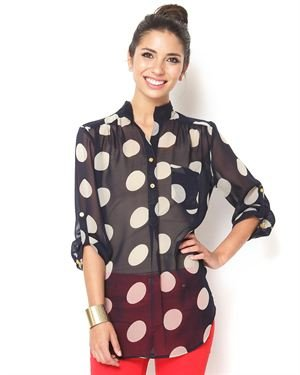 Lucky & Coco Printed Button-Up Blouse