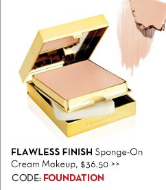 FLAWLESS FINISH Sponge-On Cream Makeup, $36.50. CODE: FOUNDATION