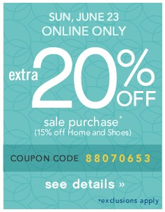 Extra 20% off. Sun, June 23, Online only. See details.