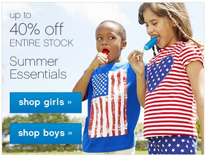 Up to 40% off Entire Stock Summer Essentials.
