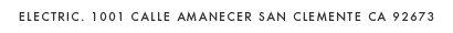 ELECTRIC. 1001 CALLE AMANCECER SAN CLEMENTE CA 92673