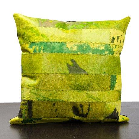 Green Cow Hide Pillow