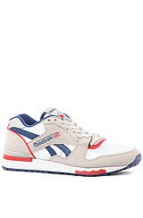 The GL 6000 Sneaker in White, Club Blue, Steel, & Red Attack