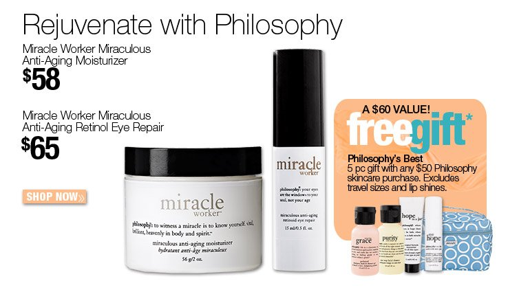 FREE Philosophy's Best 5 pc gift with any $50 Philosophy skincare purchase