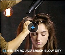 6. Finish round brush blow–dry