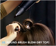 5. Round brush blow–dry top