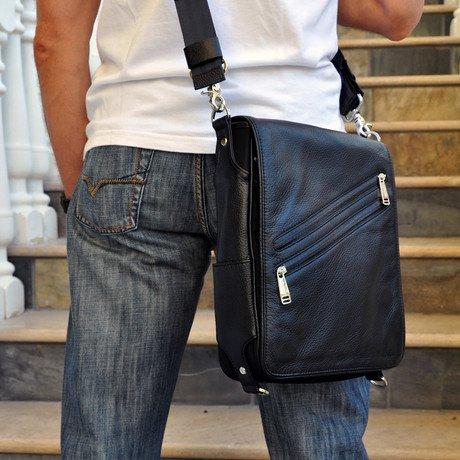 PLATFORMA Leather Messenger Bag for iPad 2/3/4 // Black Cover