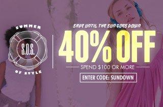 40% Off, Spend $100