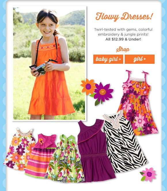 Flowy Dresses! Twirl-tested with gems, colorful embroidery & jungle prints! All $12.99 & Under!