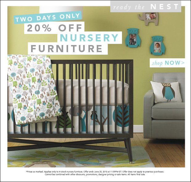 Two Days Only 20% Off Nursery Furniture