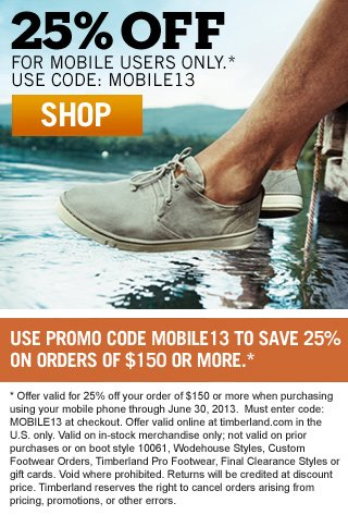 25% OFF for Mobile Users Only - Use Code MOBILE13 - SHOP