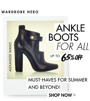 ANKLE BOOTS UP TO 65% OFF