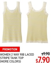 WOMEN 2 WYA RIB LACED SRIPED TANK