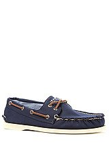 The A/O 2-Eye Canvas Boat Shoe in Navy