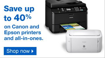 Save up  to 40% on Canon and Epson printers and all-in-ones. Shop now.
