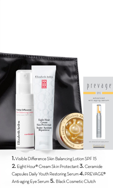 1. Visible Difference Skin Balancing Lotion SPF 15 2. Eight Hour® Cream Skin Protectant 3. Ceramide Capsules Daily Youth Restoring Serum 4. PREVAGE® Anti-aging Eye Serum 5. Black Cosmetic Clutch.