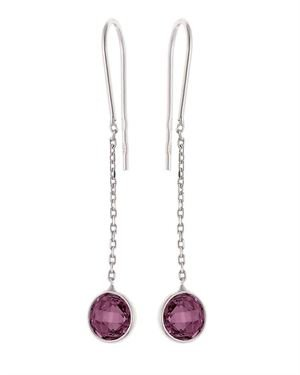 Wishlist Dangling Round Amethyst & Chain Earrings Made In Monaco