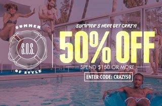 Get Crazy! 50% Off, Spend $150