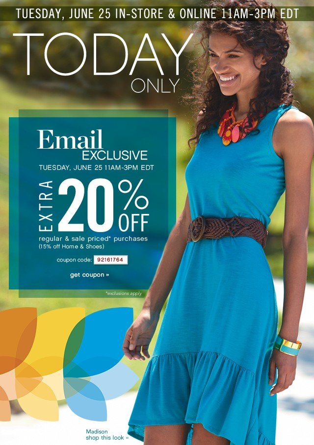 Today Only Extra 20% off. Email Exclusivie. Get coupon.