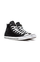 The Chuck Taylor All Star Hi Sneaker in Black Leather