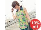Sleeveless Floral Chiffon Shirt