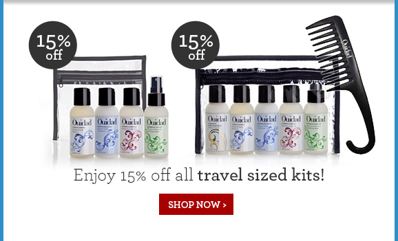 Enjoy 15% off all travel sized kits!