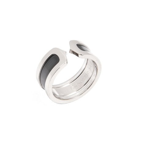 Cartier 18k White Gold Double C Ring // Size 7