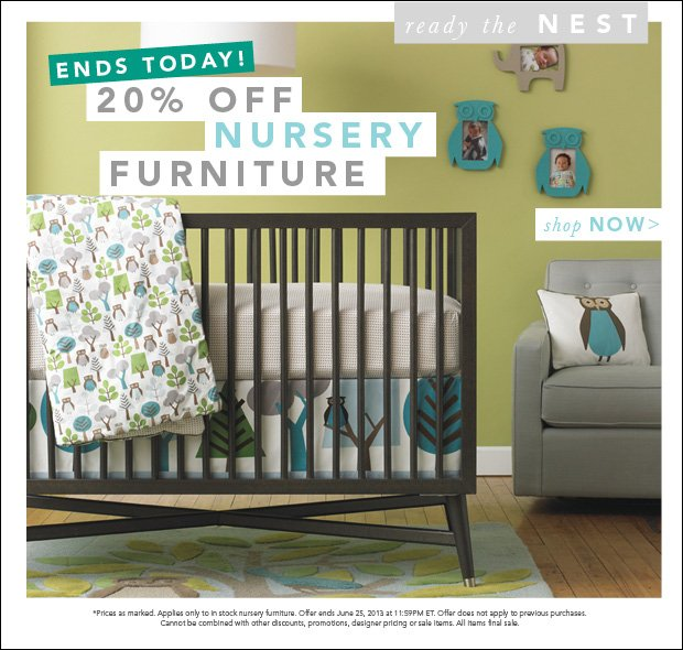 Ends Today! 20% Off Nursery Furniture