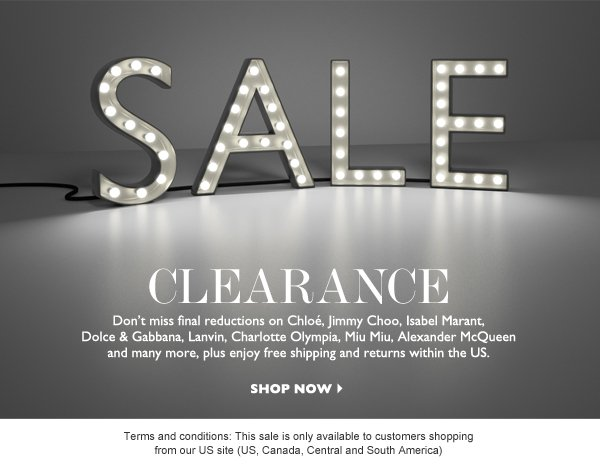 CLEARANCE! SHOP NOW