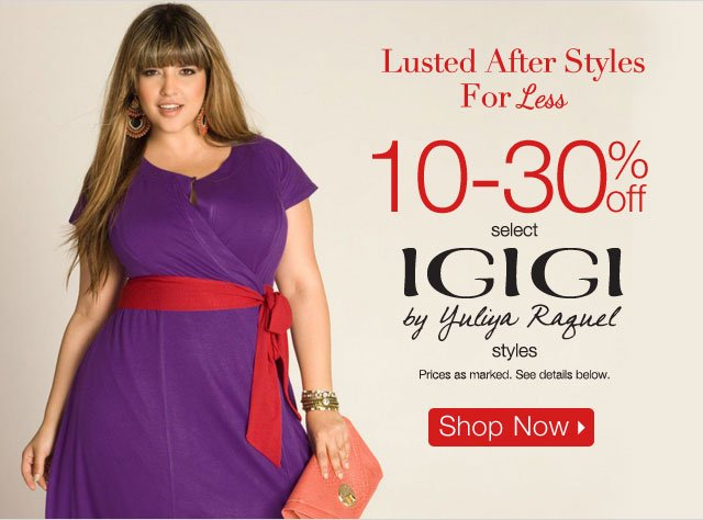 10-30% off select Igigi by Yuliya Raquel styles