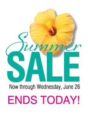 Summer SALE. Now through Wednesday, June 26. ENDS TODAY!