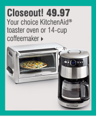 Closeout! 49.97 Your choice KitchenAid® toaster oven or 14-cup coffeemaker
