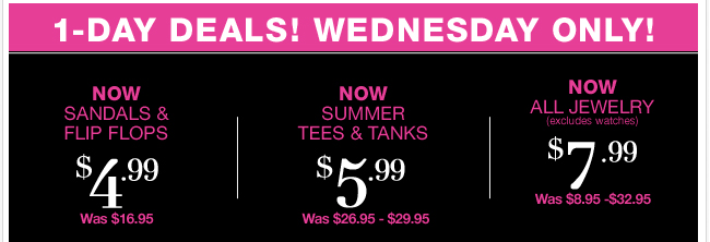 1-Day Deals! Wednesday Only! Shop Now!