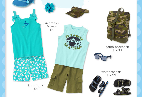 $5 Knit Tanks. $5 Knit Shorts. $12.99 Camo Backpack. $12.99 Water Sandals
