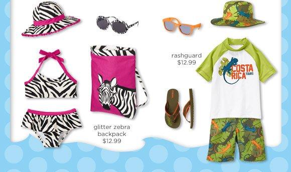 $12.99 Glitter Zebra Backpack. $12.99 Rashguard