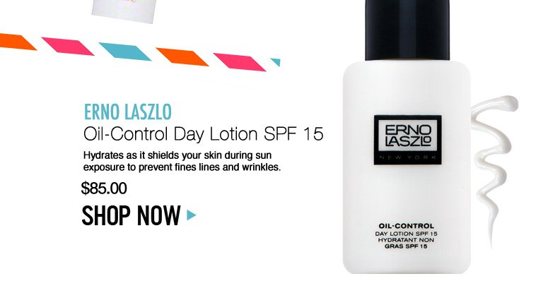 Erno Laszlo Oil-Control Day Lotion SPF 15 Hydrates as it shields your skin during sun exposure to prevent fines lines and wrinkles. $85 Shop Now>>