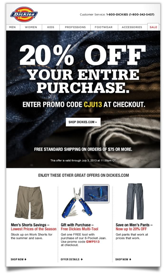 Shop Dickies.com for all your workwear needs, and take 20% OFF your entire purchase plus free standard shipping on orders of $75 or more. Enter promo code CJU13 at checkout to receive your discount.