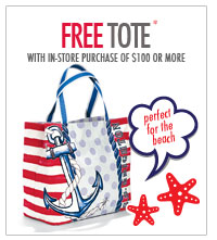Free tote with in-store purchase of $100 or more