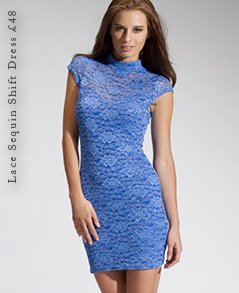 Lace Sequin Shift Dress