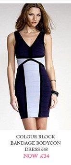 Colour Block Bandage Bodycon Dress