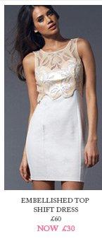 Embellished Top Shift Dress