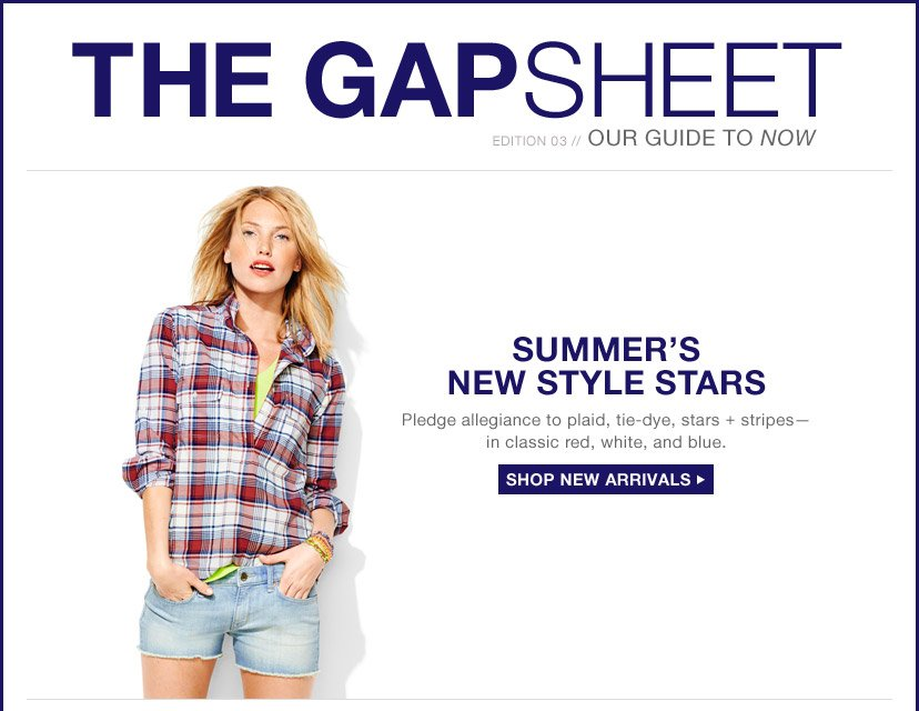 THE GAPSHEET | EDITION 03 // OUR GUIDE TO NOW | SUMMER'S NEW STYLE STARS | Pledge allegiance to plaid, tie-dye, stars + stripes—in classic red, white, and blue. | SHOP NEW ARRIVALS