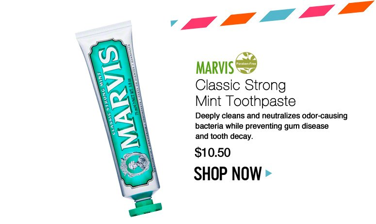 Paraben-free Marvis Classic Strong Mint Toothpaste Deeply cleans and neutralizes odor-causing bacteria while preventing gum disease and tooth decay. $10.50 Shop Now>>