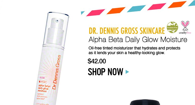 Paraben-free Dr. Dennis Gross Skincare Alpha Beta Daily Glow Moisture Oil-free tinted moisturizer that hydrates and protects as it lends your skin a healthy-looking glow. $42 Shop Now>>
