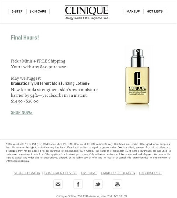 Clinique: Last chance to Pick 3 Minis + FREE shipping | Milled