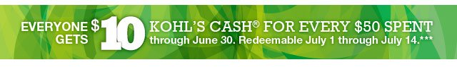 Everyone gets $10 Kohl's Cash for every $50 spent through June 30. Redeemable July 1 through July 14.