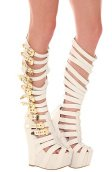 The Lilith Shoe in White Leather and Gold (Exclusive)